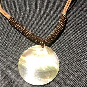 Lia Sophia Jewelry - LIA SOPHIA BROWN CORD, COPPER BEAD&SHELL NECKLACE